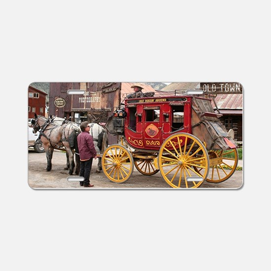 Horses and stagecoach, Colo Aluminum License Plate