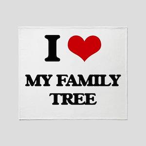 I Love My Family Tree Throw Blanket