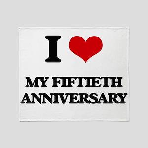 I Love My Fiftieth Anniversary Throw Blanket