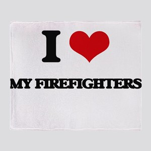 I Love My Firefighters Throw Blanket