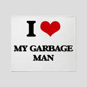 I Love My Garbage Man Throw Blanket