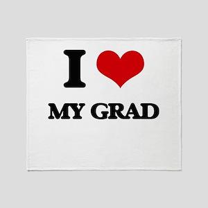 I Love My Grad Throw Blanket