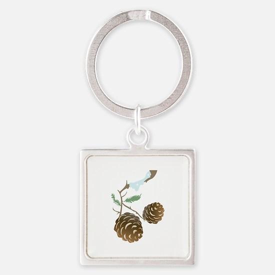 Winter Pine Cone Keychains