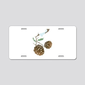 Winter Pine Cone Aluminum License Plate