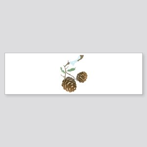 Winter Pine Cone Bumper Sticker