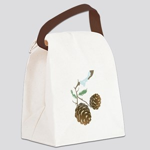 Winter Pine Cone Canvas Lunch Bag