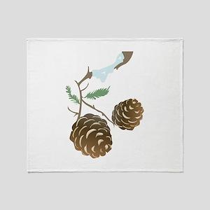 Winter Pine Cone Throw Blanket
