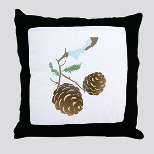 Winter Pine Cone Throw Pillow