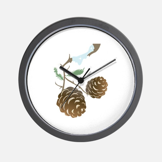 Winter Pine Cone Wall Clock