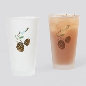 Winter Pine Cone Drinking Glass