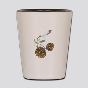 Winter Pine Cone Shot Glass