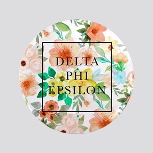 "Delta Phi Epsilon Floral 3.5"" Button"