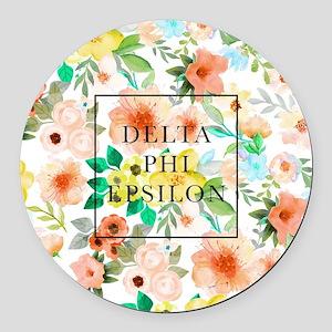 Delta Phi Epsilon Floral Round Car Magnet