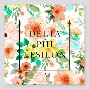 """Delta Phi Epsilon Floral Square Car Magnet 3"""" x 3"""""""