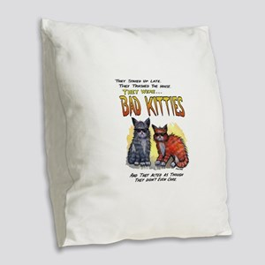 11by14badkities Burlap Throw Pillow