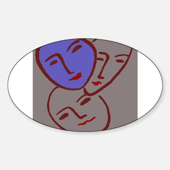 Abstract Blue Faces Decal