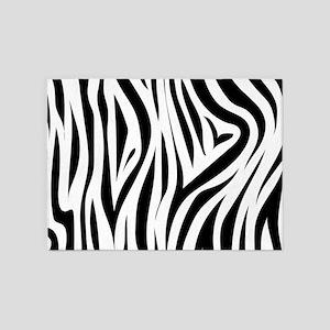Zebra Print Animal Skin 5'x7'Area Rug
