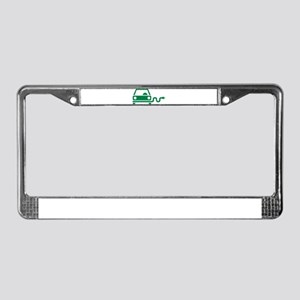 Green electric car License Plate Frame