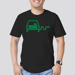 Green electric car Men's Fitted T-Shirt (dark)