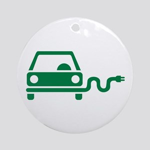 Green electric car Ornament (Round)