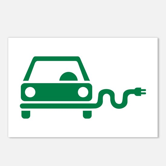 Green electric car Postcards (Package of 8)