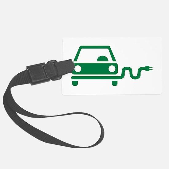 Green electric car Luggage Tag