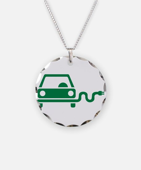 Green electric car Necklace