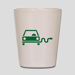 Green electric car Shot Glass
