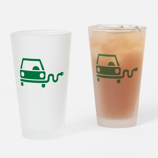 Green electric car Drinking Glass