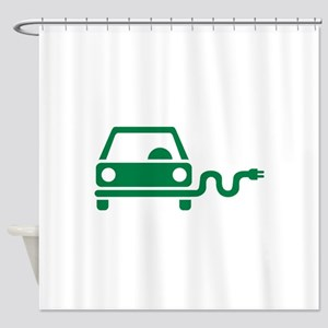 Green electric car Shower Curtain