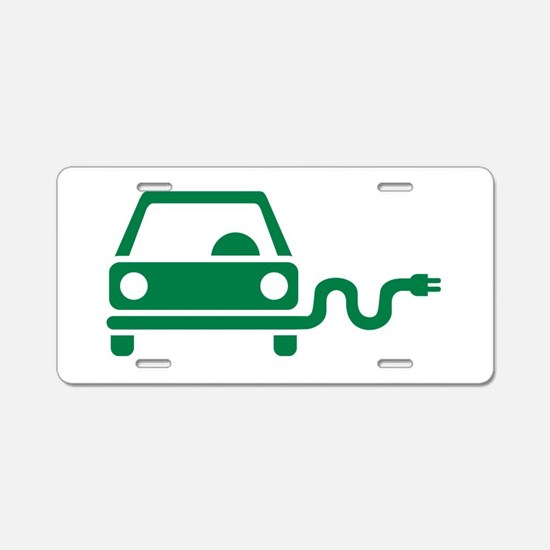 Green electric car Aluminum License Plate
