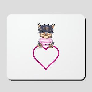 YORKIE HEART APPLIQUE Mousepad