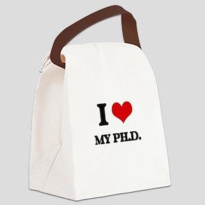 I Love My Ph.D. Canvas Lunch Bag