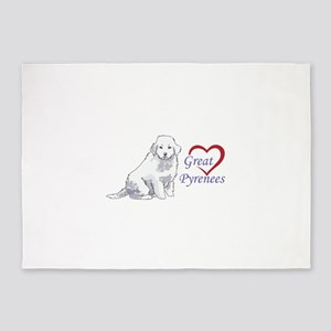 LOVE GREAT PYRENEES 5'x7'Area Rug