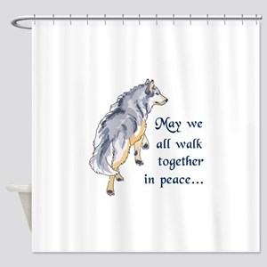 WALK TOGETHER IN PEACE Shower Curtain