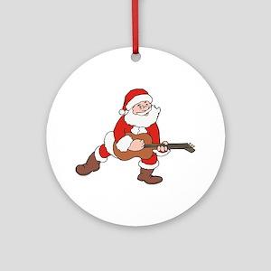 Santa w/ Guitar Round Ornament