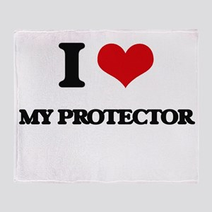 I Love My Protector Throw Blanket