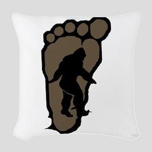 Bigfoot print b2 Woven Throw Pillow