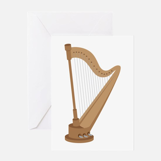 Standing Harp Greeting Cards