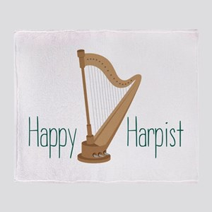 Happy Harpist Throw Blanket