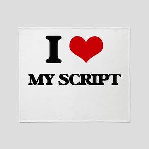 I Love My Script Throw Blanket