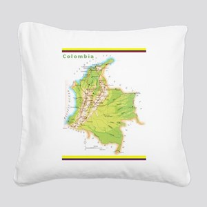 Colombia Green map Square Canvas Pillow