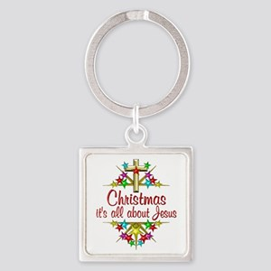 Christmas About Jesus Square Keychain