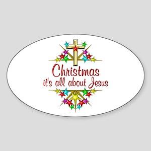 Christmas About Jesus Sticker (Oval)
