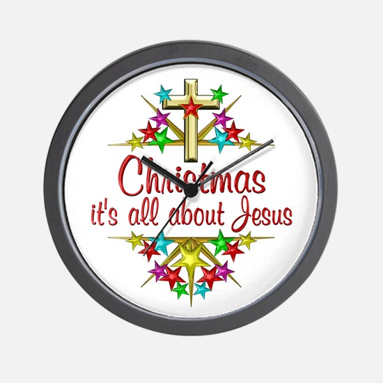 Christmas About Jesus Wall Clock