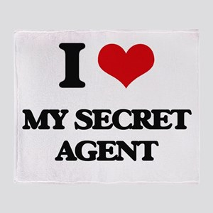 I Love My Secret Agent Throw Blanket