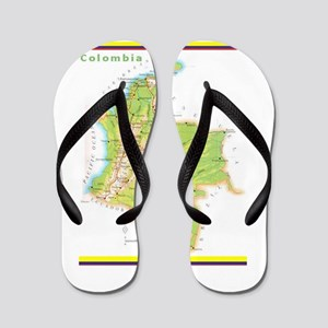 Colombia Green map Flip Flops