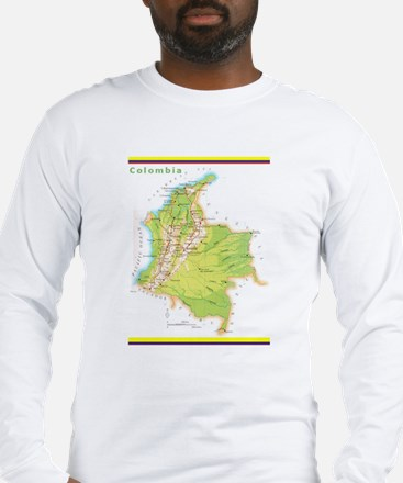 Colombia Green map Long Sleeve T-Shirt