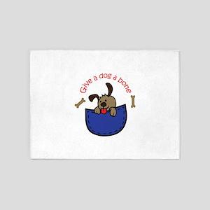 GIVE A DOG A BONE APPLIQUE 5'x7'Area Rug