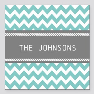 """Teal Blue and Gray Moder Square Car Magnet 3"""" x 3"""""""
